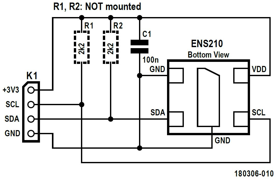 Figura 3: schema circuitale dell'e-Bob ENS210. R1 e R2 sono opzionali