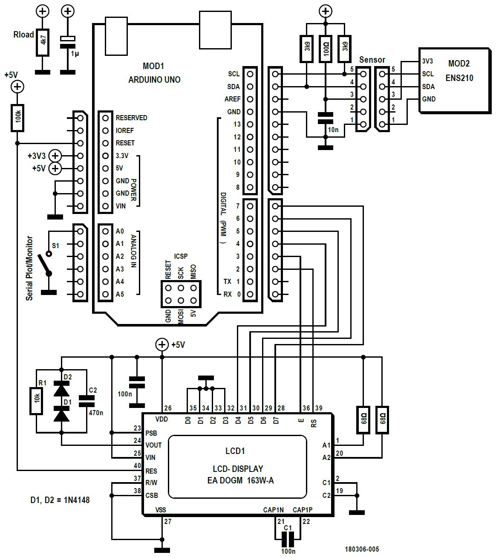 """Figura 4: il progetto di un sistema host """"Arduino""""' per il sensore ENS210. Esso, combinati a un display LCD, costituisce uno strumento interessante per l'analisi delle aree potenzialmente influenzate dalla crescita della muffa e dalla corrosione. Se la funzione boost del display non è richiesta, si devono omettere C1, C2, D1, D2, R1 e collegare il pin 24 al pin 25"""