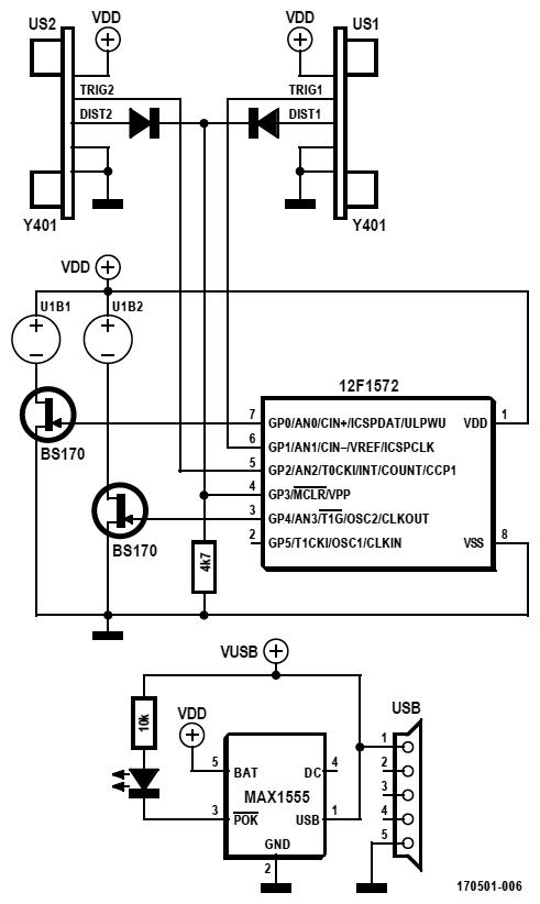 Figura 3: il semplice schema elettrico del radar per bicicletta