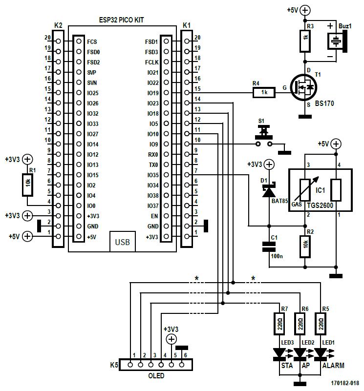 Figura 2: poiché tutto il lavoro è svolto dal sensore TGS2600, lo schema elettrico del rilevatore della qualità dell'aria risulta molto semplice