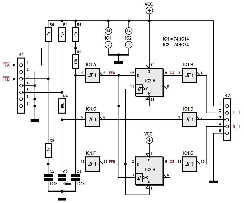Figura 1: il circuito per decodificare l'uscita di un encoder rotativo è realizzato attorno a due circuiti integrati della famiglia 74HC