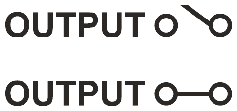 Figura 3: lo stato delle uscite è rappresentato sul display con due diversi simboli