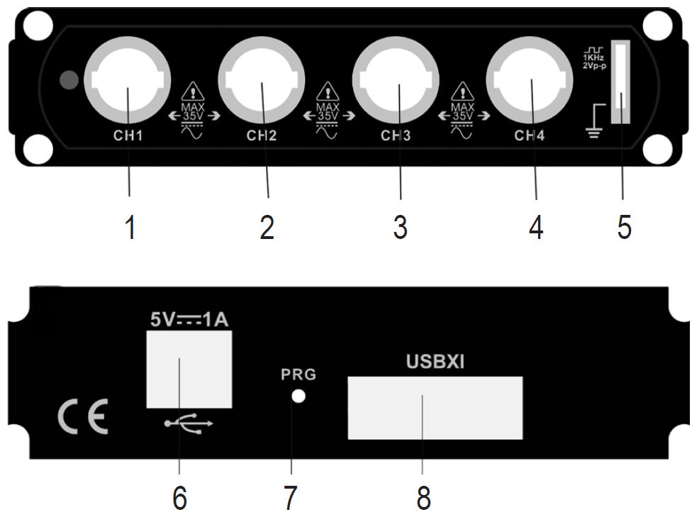 Figura 1: i controlli dell'oscilloscopio
