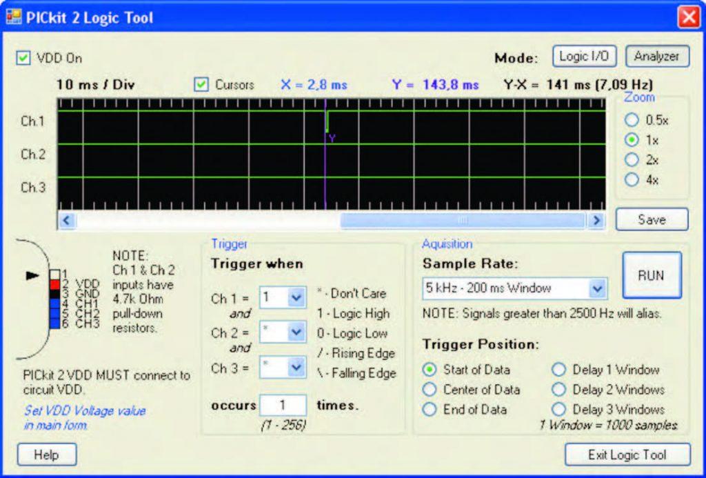 """Figura 6: il """"Logic tool"""" trasforma il PICkit 2 in un'oscilloscopio a 3 canali. Qui sta misurando in quanto tempo si blocca il WDT."""