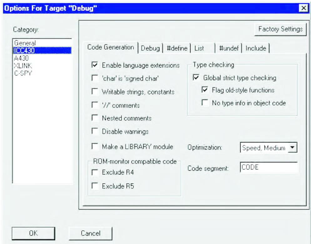 Figura 3: le opzioni del compilatore.