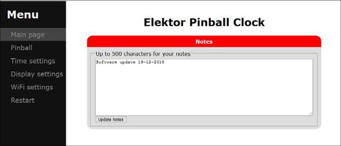 Figura 3: la pagina web consente di impostare tutti i parametri e le opzioni del Pinball Clock