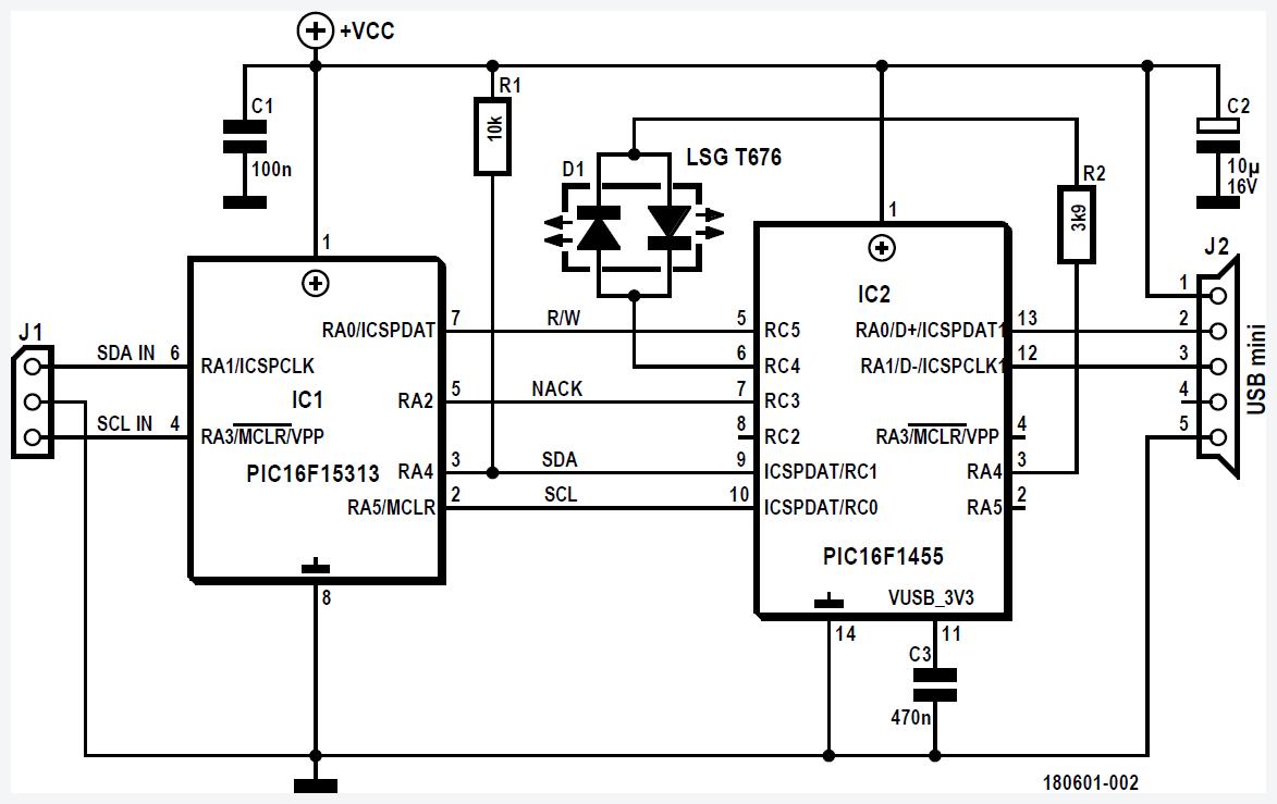 Figura 1: schema elettrico completo del lettore di bus dati I2C
