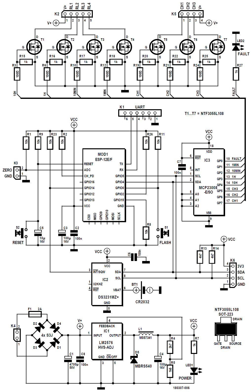 Figura 1: lo schema elettrico del Pinball