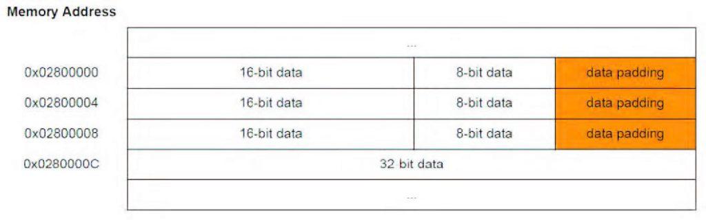 Figura 1: struttura dati con dati allineati.