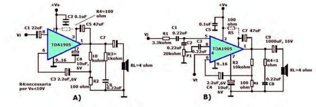 Figura 3: amplificatore audio TDA1905 senza impiego di muting (A) e con impiego di muting (B) [1].