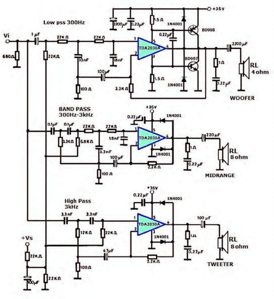 Figura 8: amplificatori TDA2030A impiegati per realizzare un filtro crossover attivo a tre vie [5].