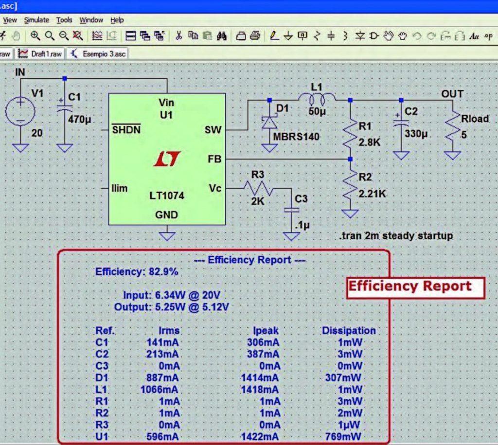 Figura 4: bilancio di potenza o rapporto di efficienza (View- >Efficiency Report).
