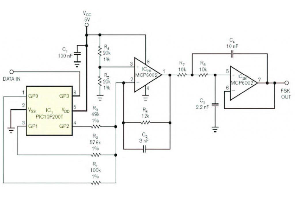 Figura 1 circuito che realizza una modulazione FSK compatibile con il protocollo Bell-202.