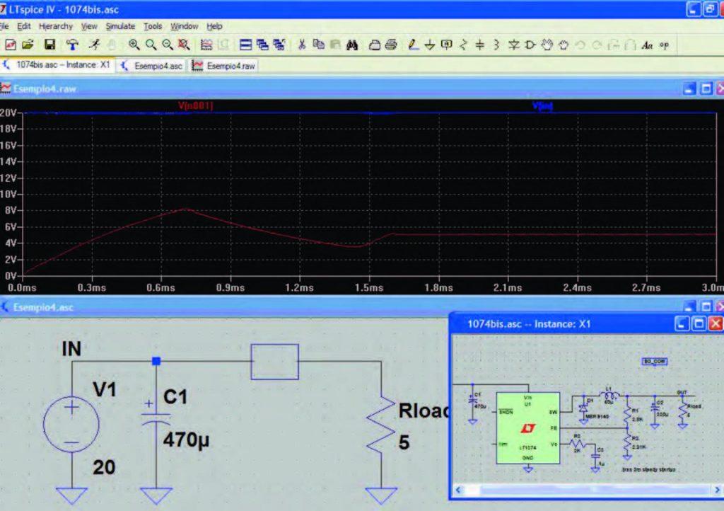 Figura 5: circuito impiegante un blocco circuitale (file .asc) e relativo esploso (file .asy).