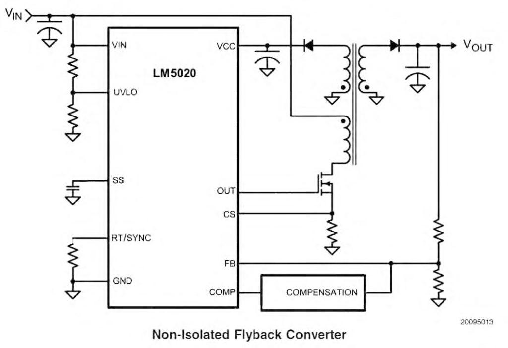Figura 1: circuito tipico per un regolatore flyback con LM5020