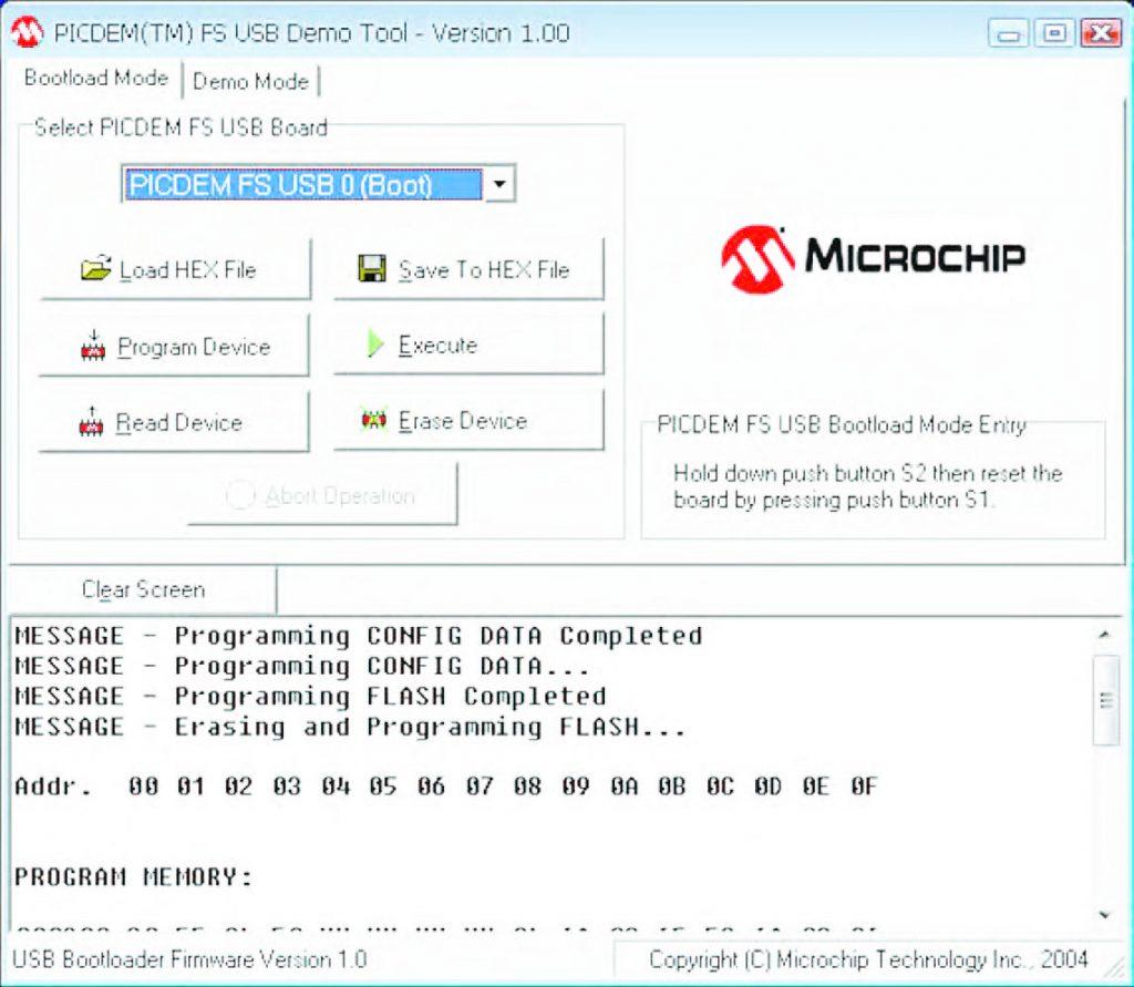 Figura 7: ecco come si presenta il programma fornito da Microchip per programmare attraverso la porta USB.