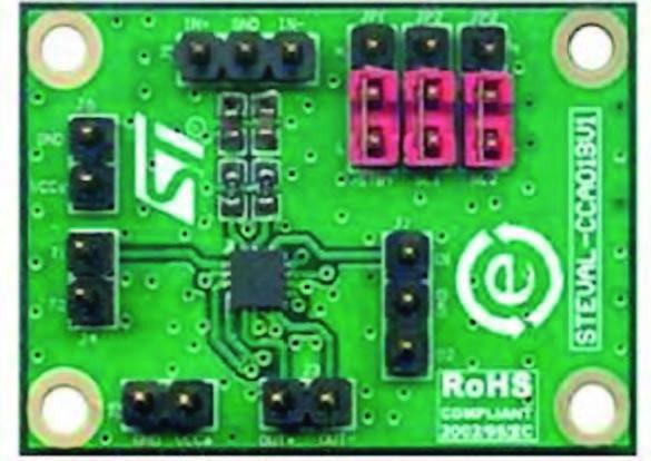 Figura 12: demo board per TS4961 (si notino i pochi componenti esterni e le ridotte dimensioni del chip) [9].