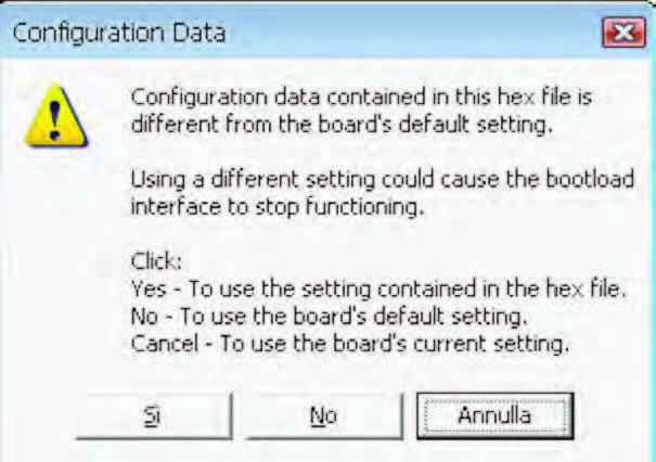 Figura 8: gli switch del bootloader non devono essere sovrascritti altrimenti il circuito non funzionerà più. La risposta in questa finestra deve essere NO.