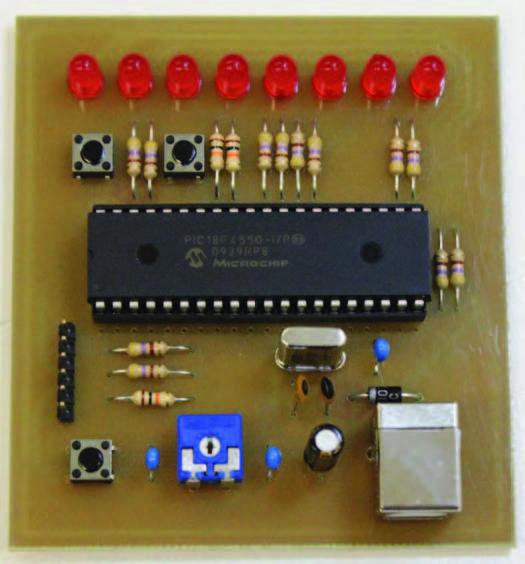 Figura 1: il circuito come si presenta a montaggio ultimato. Notare la presenza della porta USB per la programmazione.