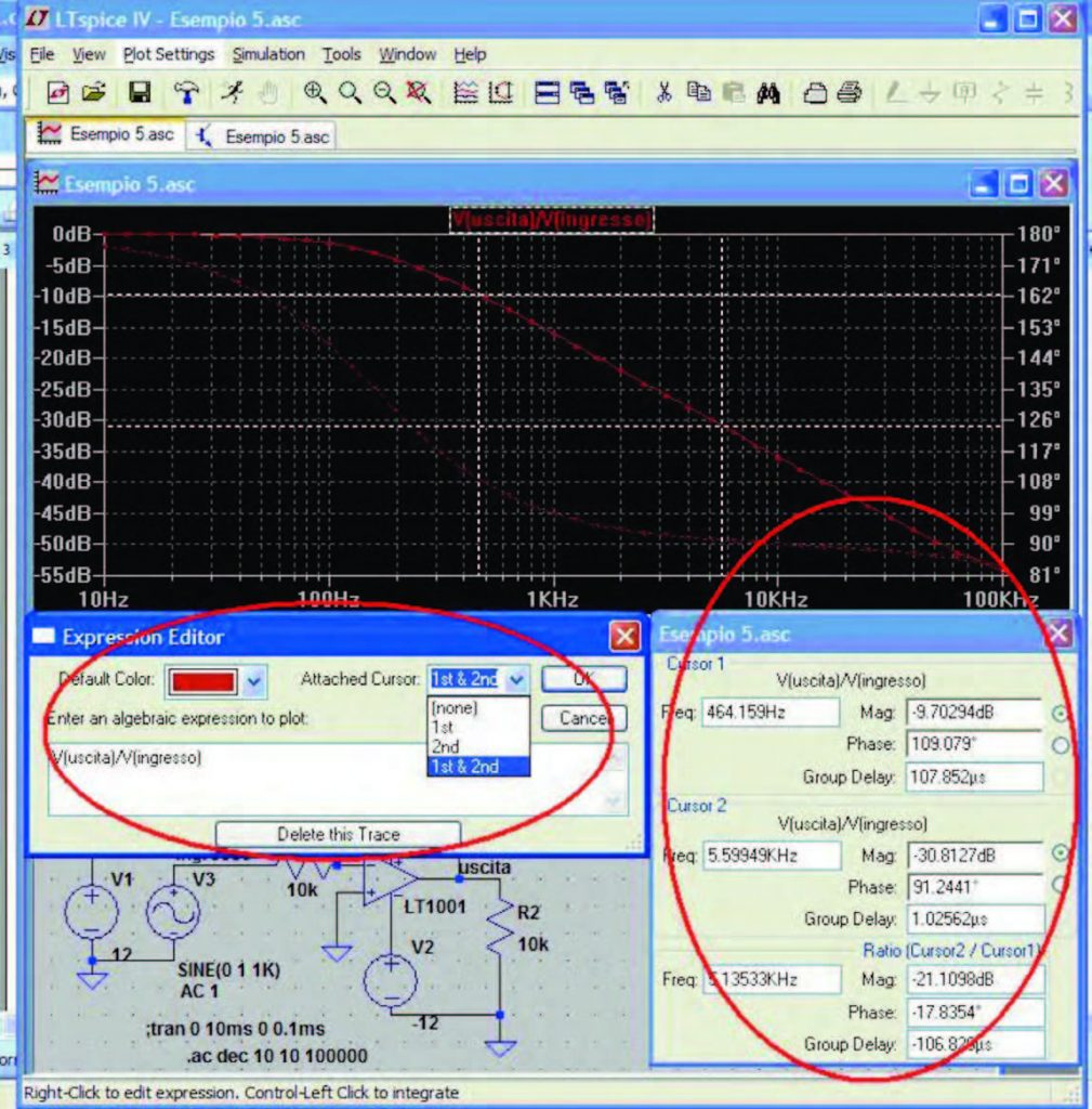 Figura 9: l'impiego di cursori interattivi consente di esaminare i punti di una traccia. Un apposito form mostra le coordinate del cursore e la differenza di coordinate tra i cursori in maniera analoga a quanto si fa comunemente con un oscilloscopio.