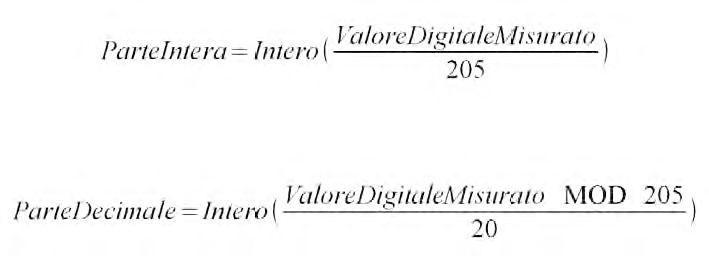 Figura 6: le due formule per ricavare la parte intera e decimale della tensione.