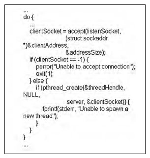 Figura 1: listato del top level di una applicazione server.