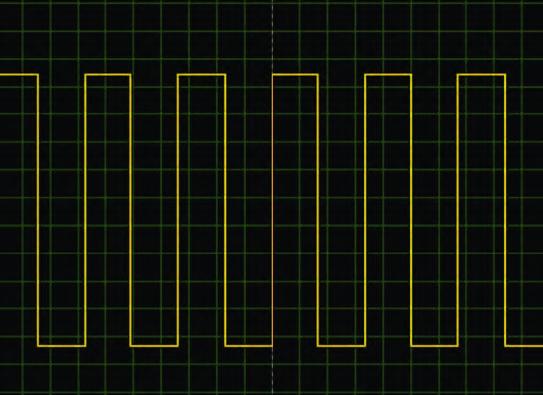 Figura 4: onda quadra generata dalla porta RC1 (listato 1).