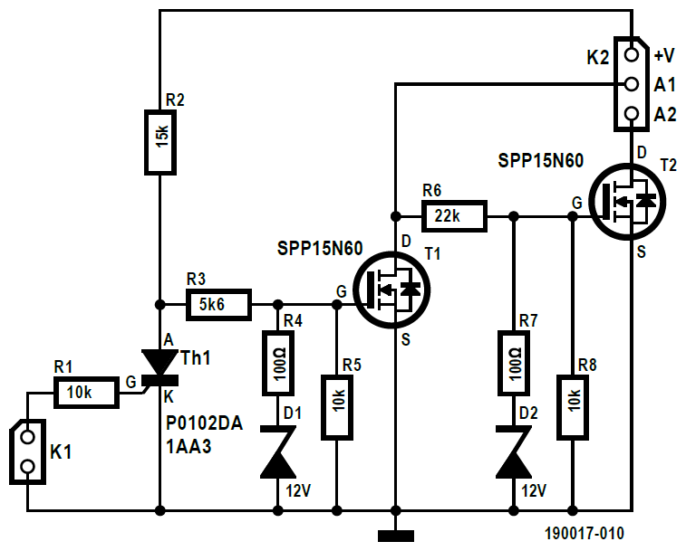 Figura 1: la versione a bassa tensione (40 VAC max.) del tiristore MOSFET a doppio anodo. La commutazione a bassa perdita è più veloce e meno dispendiosa rispetto al tiristore convenzionale