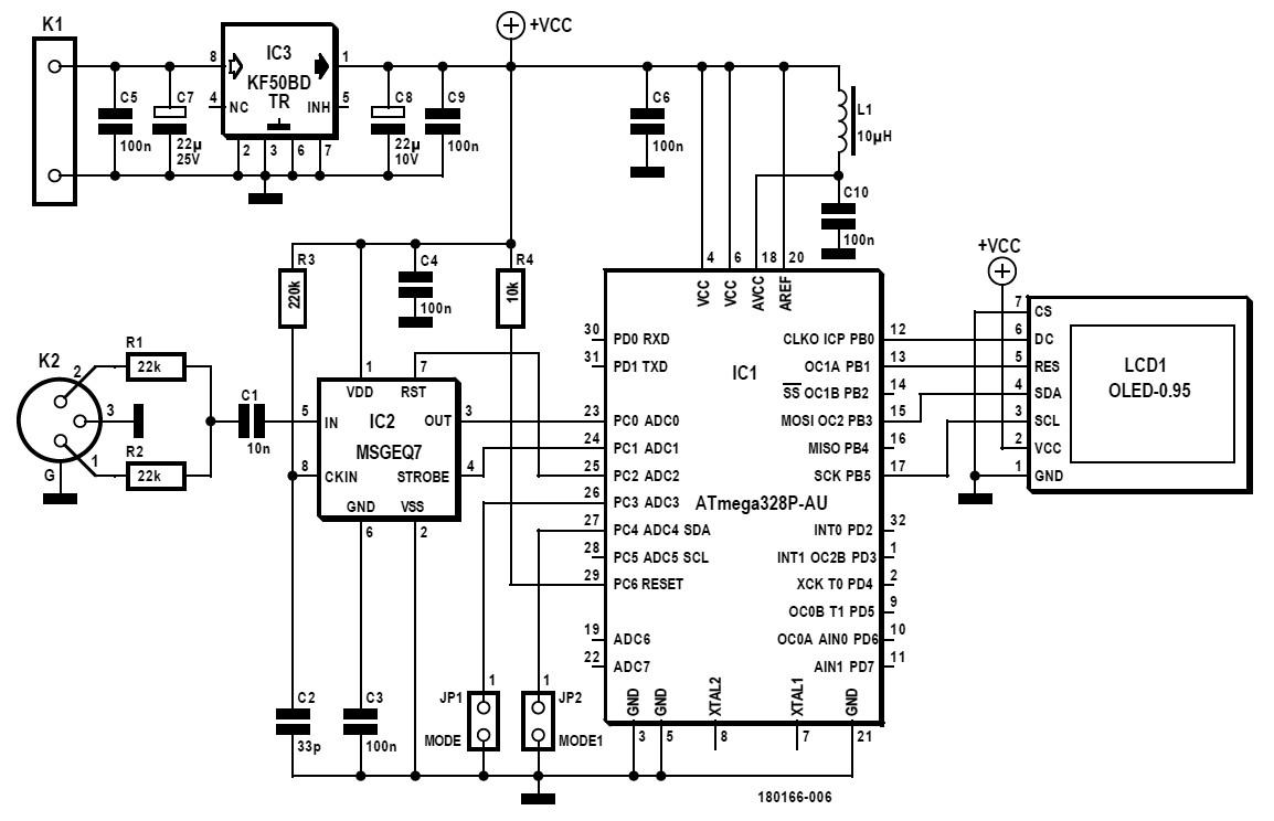 Figura 1: schema dello spettrometro a 7 bande a 8-12 V CC alimentato da un adattatore di rete o un'alimentazione equivalente. Questa versione del progetto è orientata all'incorporazione in apparecchiature audio esistenti