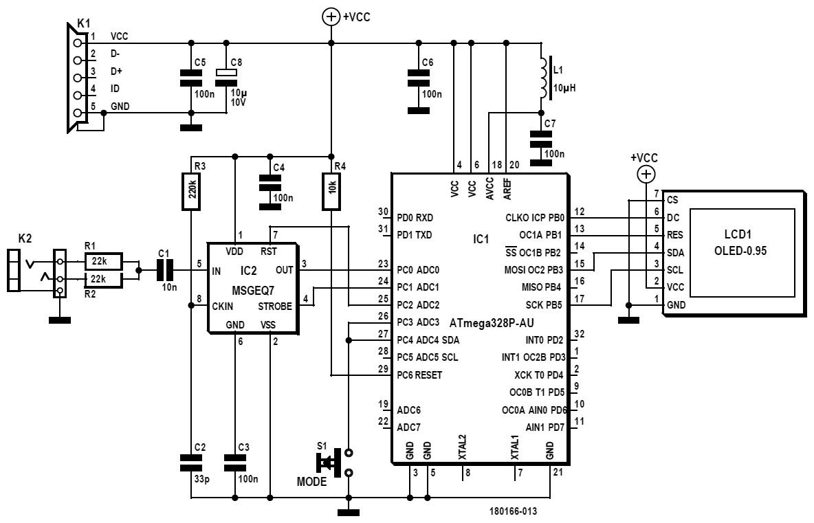 Figura 2: schema elettrico del secondo spettrometro. Trovare le differenze con il precedente schema: un indizio si trova attorno a K1. Questa versione dello spettrometro è destinata all'uso come strumento portatile