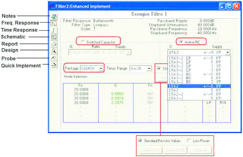 Figura 6: Enhanced Implement Window. Attraverso questo form è possible impostare il tipo di implementazione del filtro.