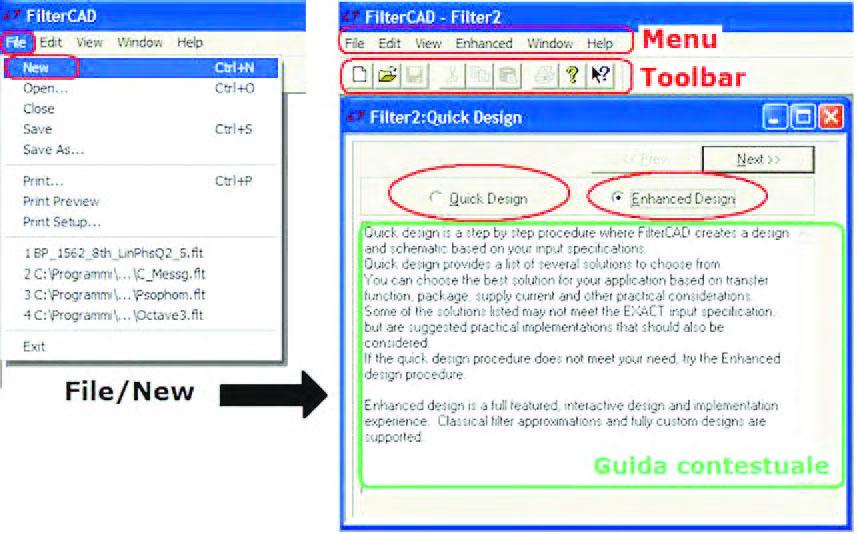 Figura 2: apertura di un nuovo progetto (FileàNew). All'interno del form Quick Design è possibile scegliere tra due modalità di progetto: Quick Design ed Enhanced Design.