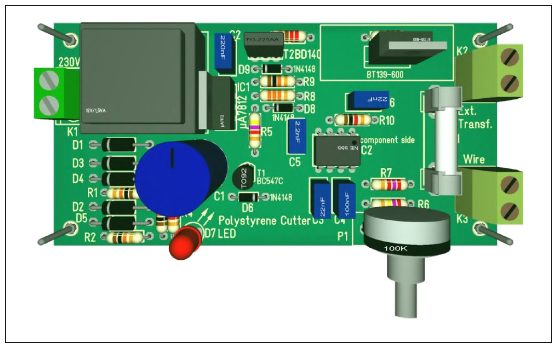 Figura 2: la scheda con tutti i componenti elettronici montati dovrebbe assomigliare a questa simulazione 3D