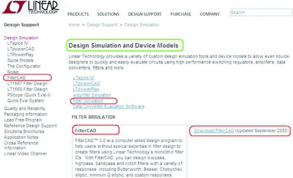 """Figura 1: dal sito di Linear Technology (www.linear.com) alla sezione """"Design Simulation"""" potete scaricare diversi CAD di simulazione tra cui FilterCAD 3.0."""