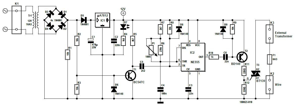 Figura 1: lo schema elettrico della fresa per polistirolo a filo caldo a controllo di fase. Chi ha bisogno di un microcontrollore?