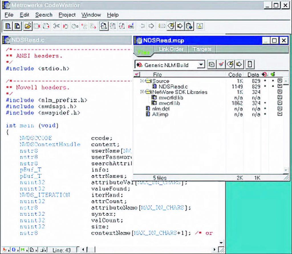 Figura 1: IDE di Code Warrior