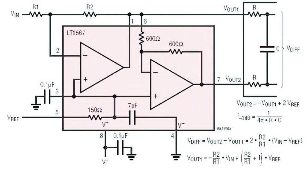 Figura 6: LT1567 utilizzato come Single-ended to Differential Amplifier. Si notino le relazioni di calcolo e la dipendenze che dalla loro analisi si evince tra capacità C e banda a -3dB