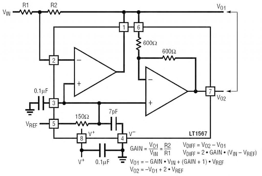 Figura 7: LT1567 utilizzato come Single-ended to Differential Amplifier. Si notino le differenze tra le relazioni di calcolo riportate in figura e quelle riportate in figura 6, in cui lo stesso circuito presenta un blocco RC in uscita