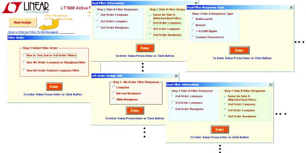 """Figura 24: a seconda della scelta effettuata all'interno del pannello """"Filter Order"""" è possibile intraprendere una diversa strada di progetto che porta alla determinazione dello schema elettrico del filtro attivo e dei valori di tutti i componenti passivi esterni che compongono il circuito"""