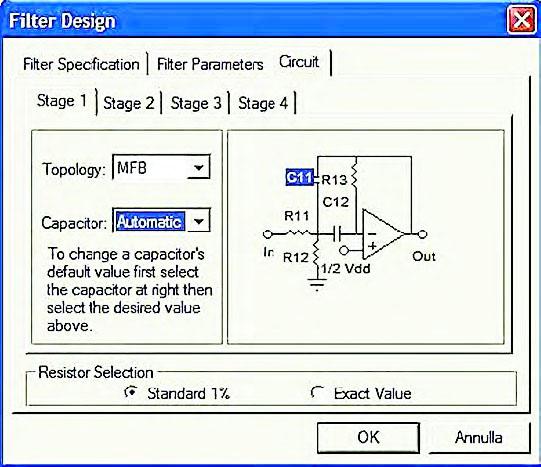 """Figura 9: all'interno del tab """"Circuit"""" è possibile modificare i valori delle capacità che compaiono sui singoli stadi del filtro rispetto a quelli proposti automaticamente dal cad. FilterLab modifica automaticamente i valori ohmici dei resistori e delle altre capacità al fine di garantire la desiderata risposta del filtro."""
