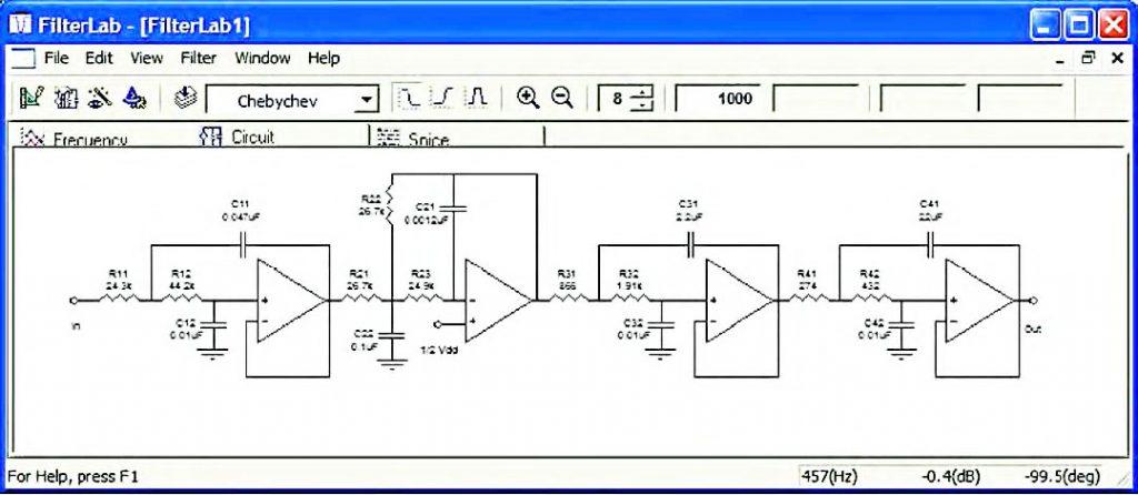 Figura 10: alla fine del percorso di progetto il CAD restituisce il circuito completo di tutti gli stadi attivi componenti il filtro.