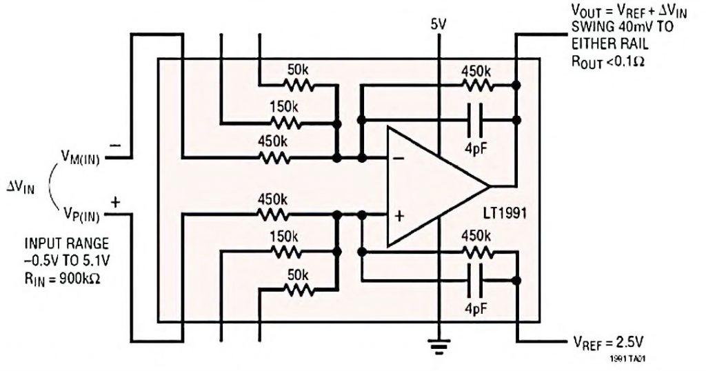 Figura 2: amplificatore LT1991 in configurazione differenziale (guadagno G=1 e dinamica rail-to-rail).