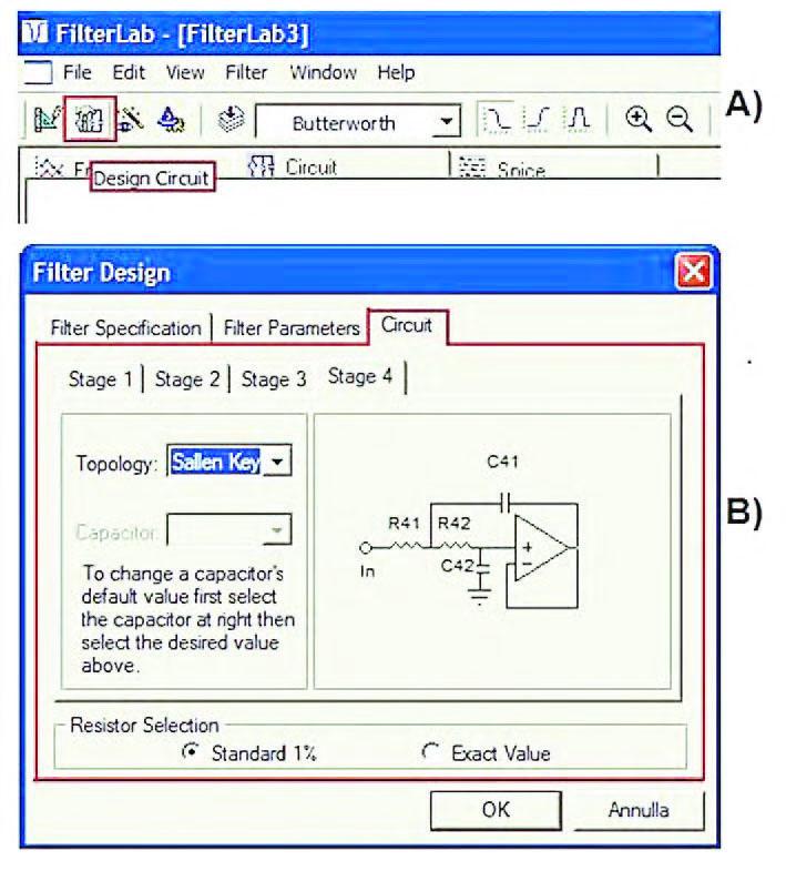 """Figura 8: attraverso il tab """"Circuit"""" del Form Filter Design (B) oppure attraverso il pulsante """"Design Circuit"""" (A) è possibile avviare la generazione dello schema elettrico del filtro i cui parametri caratteristici sono stati precedentemente definiti."""