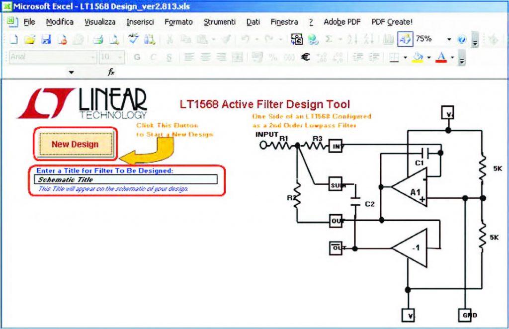 """Figura 23: con il tasto """"New Design"""" è possibile avviare il disegno automatico del filtro. Tra i diversi percorsi resi disonibili all'interno del pannello """"Filter Order"""" vi sono: """"One or two 2nd or 3rd Order Filters"""", """"One 4th Order Low Pass or Band Pass Filter"""" e """"One 5th Order Custom Low Pass Filter"""""""