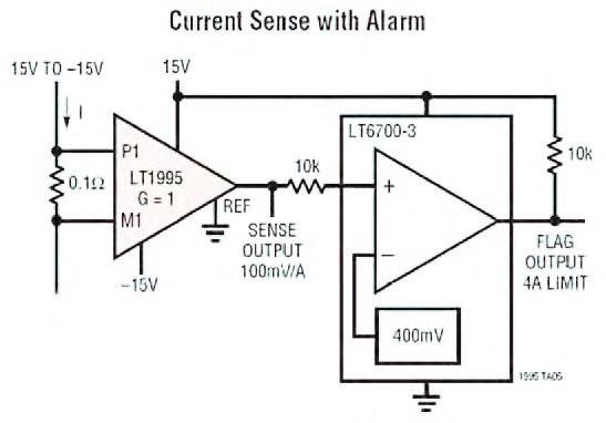 Figura 7: current Sense Amplifier ottenuto attraverso l'impiego di un LT1995.
