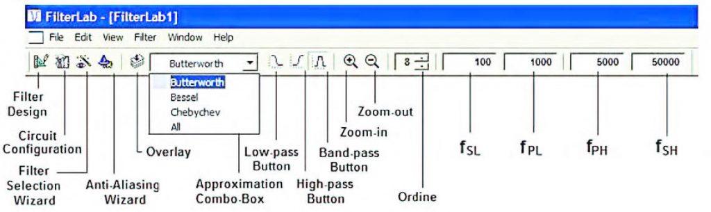 Figura 19: dettaglio della toolbar do FilterLab
