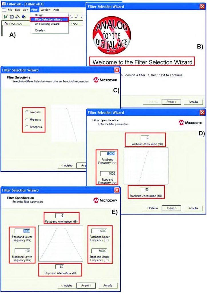 Figura 12: fillter Selection Wizard. A,B)- Accesso alle funzionalità; C)-Scelta del tipo di filtro (Selectivity); D,E)- Impostazione delle frequenze caratteristiche del filtro (Filter Specification).