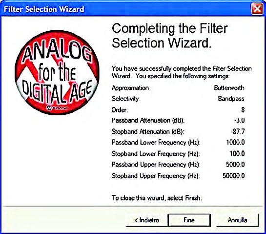 "Figura15: form ""Completing the Filter"" del percorso di progetto Filter Selection Wizard."