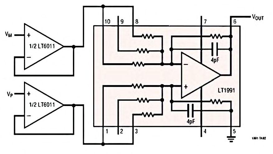 Figura 3: gain Selectable Amplifier LT1991 (configurazione differenziale da strumentazione; si notino i due amplificatori buffer in ingresso; ancora una volta non vengono utilizzati resistori esterni).