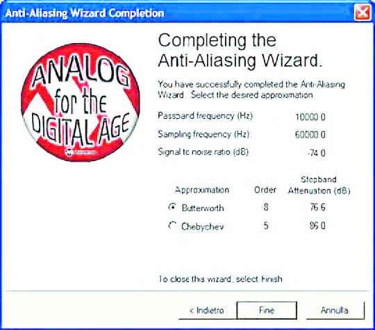 Figura18: il percorso Anti-Aliasing Wizard si conclude con la scelta del tipo di approssimazione (opzioni possibili: Butterworth e Chebyshev).